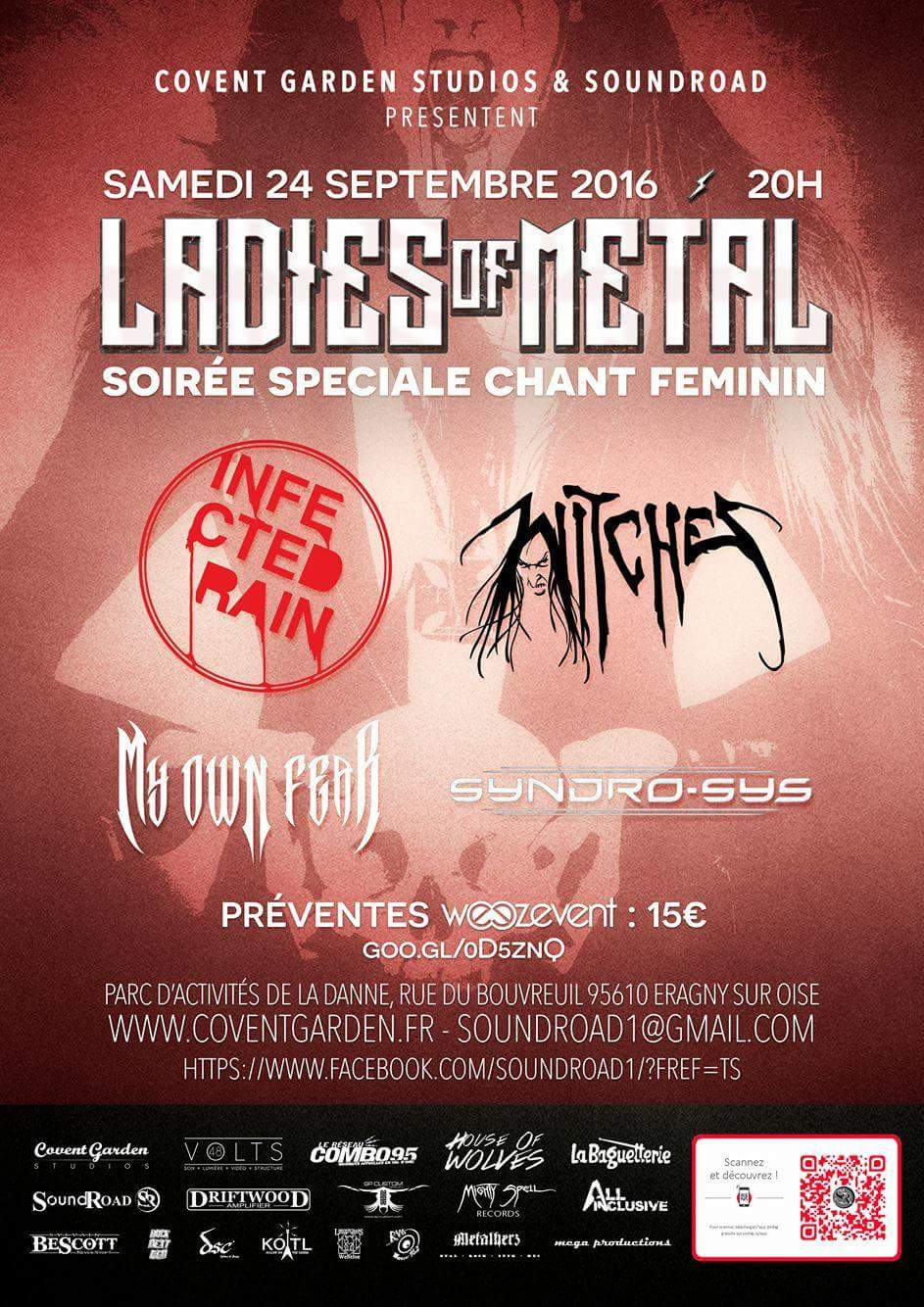Witches flyer Infected Rain (Mol) - WITCHES - My Own Fear - Syndro-Sys  @ Ladies of Metal Covent Garden Eragny (95) - France